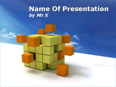 Cube Disaggregation over a Blue Sky Powerpoint Template image