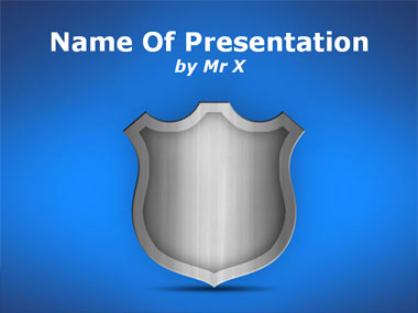 Grey Sparkling Shield Powerpoint Template image