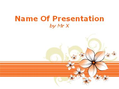 Orange Floral Background Powerpoint Template