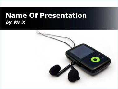 Black MP3 on Whiteboard Powerpoint Template image