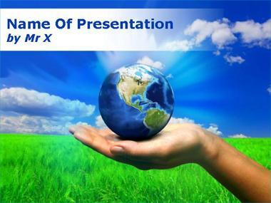 Hand Carrying Earth Powerpoint Template image