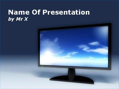 Television Screen with Sky Skin Powerpoint Template image