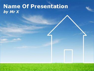Environment House on Grass Powerpoint Template
