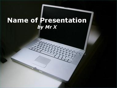Computer on a blackboard Powerpoint Template