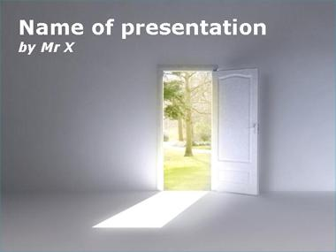 A door opened on a forest Powerpoint Template image