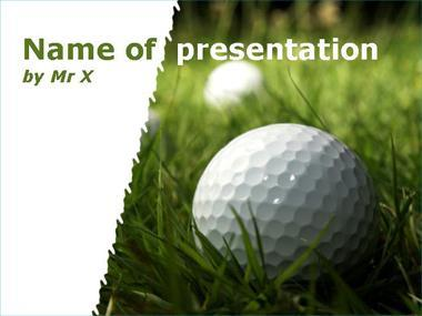 Golf ball on the grass Powerpoint Template image