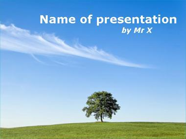 Lone tree in the countryside Powerpoint Template image