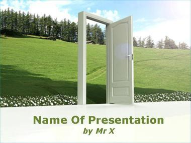 An opened door on environment Powerpoint Template image
