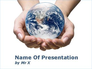 Earth in Hands Powerpoint Template image