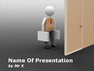 Working Man in front of a Door Powerpoint Template image