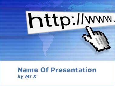 Hand Click over Web Adress Powerpoint Template image