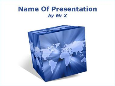 Earth in a cube Powerpoint Template image