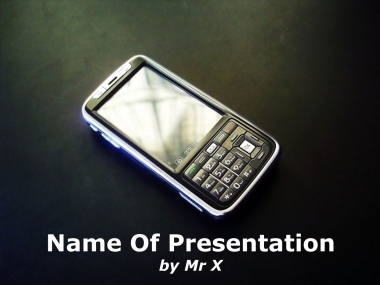 Mobile phone with widescreen Powerpoint Template image