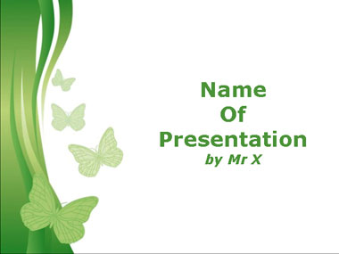 Green Butterflies Powerpoint Template image