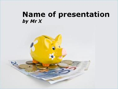 Piggy bank sitting on euros Powerpoint Template image
