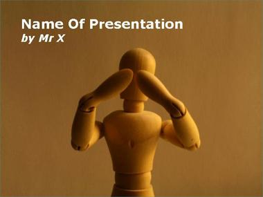 Wood Figurine with Hands on Eyes Powerpoint Template image