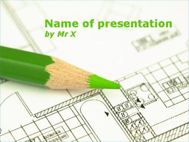 A green pen on a plan Powerpoint Template