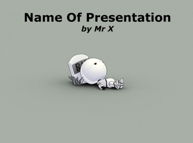 Robot on a gravestone Powerpoint Template image