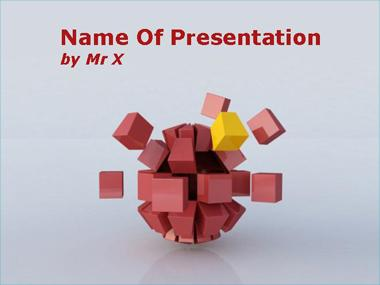 Red Sphere Disaggregation Powerpoint Template