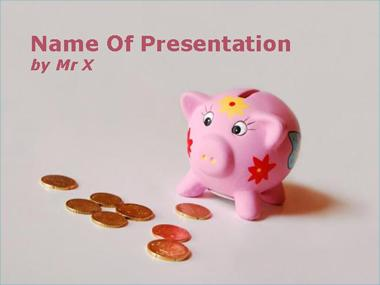 Pink Piggy Bank with Money Coins Powerpoint Template image