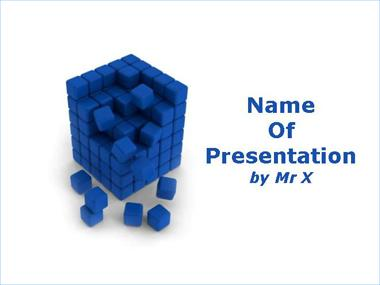 Blue Cube under Construction Powerpoint Template image