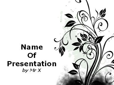 Black Designed Floral Pattern Powerpoint Presentation Template