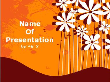 Flowers Over Orange Background Powerpoint Presentation Template