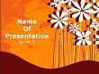 Flowers Over Orange Background Powerpoint Template